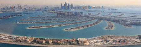 ドバイのパーム ・ ジュメイラ島パノラマ マリーナ パノラマ空撮写真アラブ首長国連邦