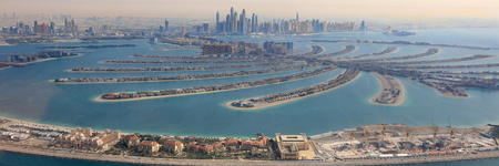 Dubai The Palm Jumeirah Island panorama Marina aerial panoramic view photography UAE Editorial