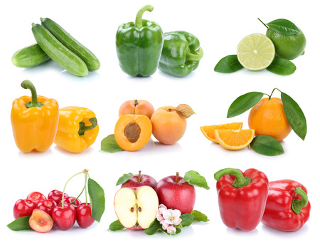 Fruits and vegetables collection isolated apple orange bell pepper colors fresh fruit on a white background