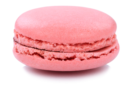 Strawberry macaron macaroon cookie dessert from France isolated on a white background