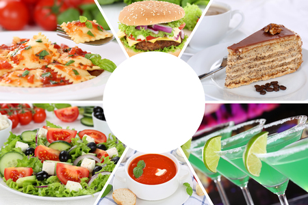 Food and drink menu eating collection collage beverages drinks meal meals restaurant set Stock Photo