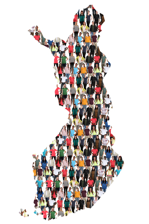 Finland map multicultural group of people integration immigration diversity isolated