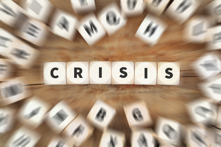 Crisis financial management communication depts dice business concept idea