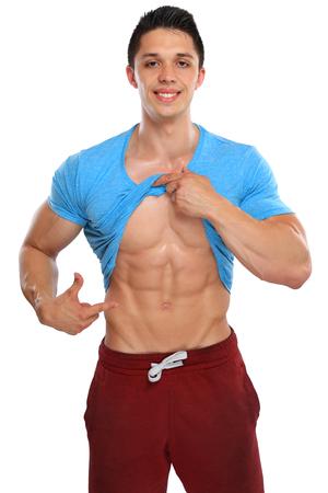Abs buik zes pack spieren bodybuilder bodybuilding buigen weergegeven: man geïsoleerd op een witte achtergrond