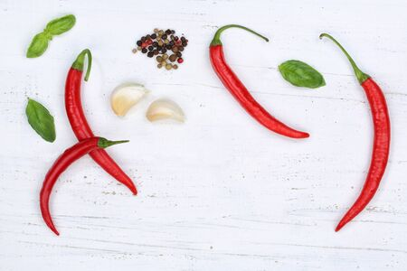 Red hot chili peppers chilli cooking ingredients background top view above