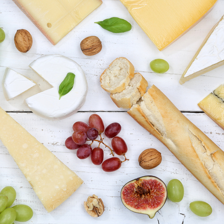 Cheese board platter plate Swiss bread Camembert square top view above