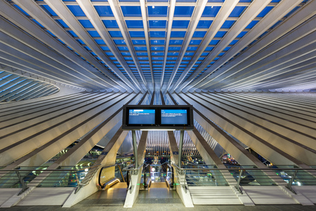 Liege, Belgium - May 9, 2017: Liege Guillemins train railway station at twilight by Santiago Calatrava in Belgium.