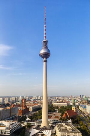 Berlin, Germany - August 31, 2017: Berlin skyline and tv tower, Alexanderplatz in Germany.