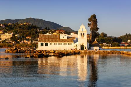 Vlacherna monastery church Corfu Greece Vlachernon Kanoni island traveling sea travel Stock Photo