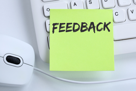 Feedback contact customer service opinion survey review business concept mouse computer keyboard Stock Photo