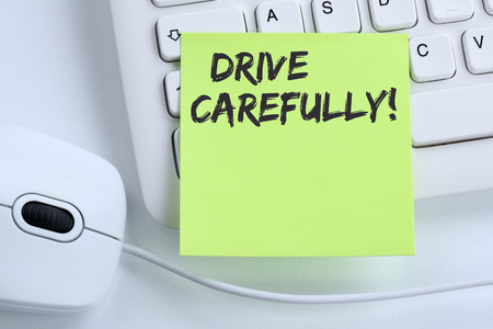 Drive carefully driving car accident traffic business concept mouse computer keyboard