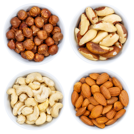 Nuts nut collection from above bowl isolated on a white background Stok Fotoğraf - 97645431