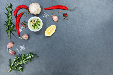 Cooking ingredients spices herbs basil copyspace spicy red hot chili peppers chilli spice