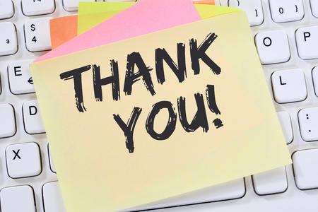 Thank you on notepaper office business note paper computer keyboard Reklamní fotografie