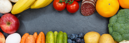 Fruits and vegetables food collection banner frame slate copyspace from above top view