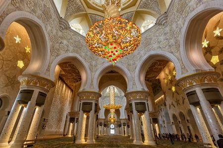 Abu Dhabi, United Arab Emirates - March 5, 2017: Abu Dhabi Sheikh Zayed inside Grand Mosque chandelier United Arab Emirates in the UAE.