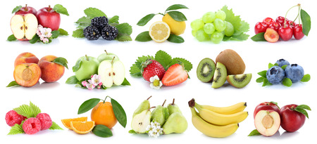 Fruits fruit collection orange apple apples kiwi strawberry pear grapes cherry isolated on a white background Stock Photo