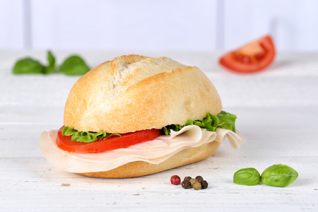 Sandwich baguette with ham on wooden board wood 写真素材 - 100104759