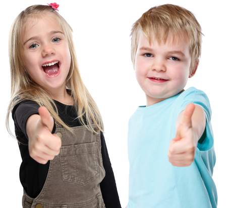Children kids smiling young little success successful thumbs up isolated on a white background Stock fotó