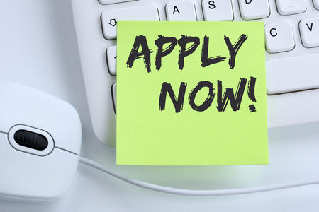 Apply now jobs, job working recruitment employees business concept mouse computer keyboard Stockfoto