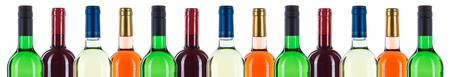 Collection of wine bottles bottleneck in a row red banner isolated on a white background