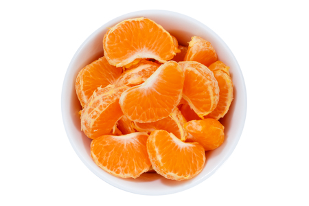 Mandarin oranges fruits from above bowl isolated on a white background