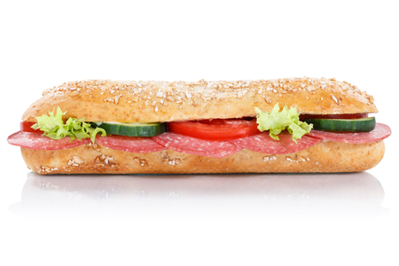 Sub sandwich with salami whole grains grain baguette lateral isolated on a white background Stock Photo