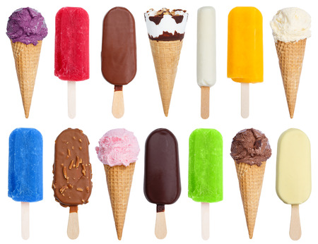 Collection of ice cream ice-cream icecream variety stick isolated on a white background