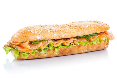 Baguette sub sandwich whole grains with smoked salmon fish fresh isolated on a white background
