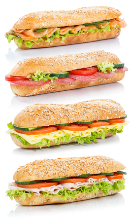 Baguette sub sandwiches with salami ham cheese salmon fish stacked whole grains fresh isolated on a white background Фото со стока