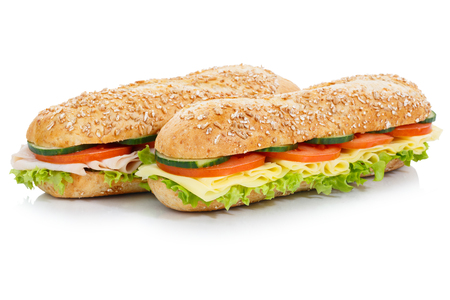 Baguette sub sandwiches ham and cheese isolated on a white background