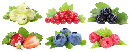 Collection of berries strawberries blueberries berry fruits fruit isolated on a white background Archivio Fotografico
