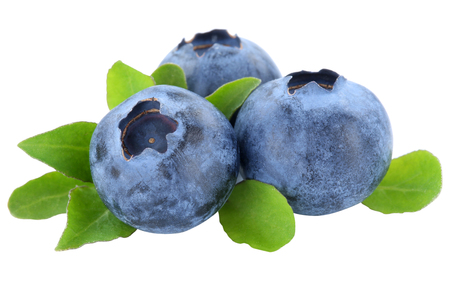 Blueberry blueberries berry berries fruit fruits leaves isolated on a white background