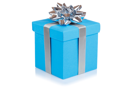 Birthday gift christmas present light blue box isolated on a white background