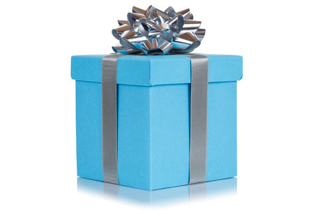 Gift present christmas birthday wedding wish light blue box isolated on a white background