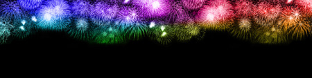 New Year's Eve fireworks background large copyspace copy space banner colorful years year firework backgrounds Banco de Imagens