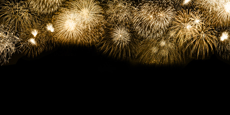 New Year's Eve fireworks gold golden background copyspace copy space banner years year firework backgrounds