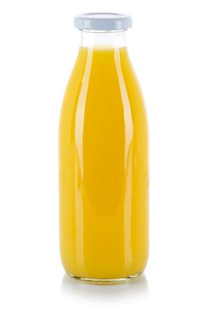 Orange juice drink bottle isolated on a white background 스톡 콘텐츠