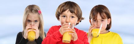 Group of children girl boy kids drinking orange juice healthy eating banner young