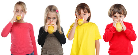 Group of children girl boy kids drinking orange juice healthy eating isolated on a white background Stockfoto