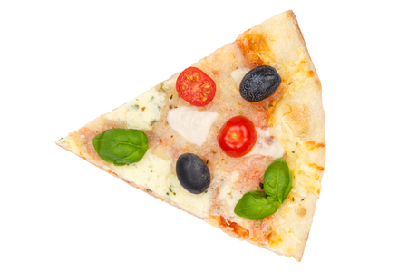 Pizza margarita margherita slice from above isolated on a white background