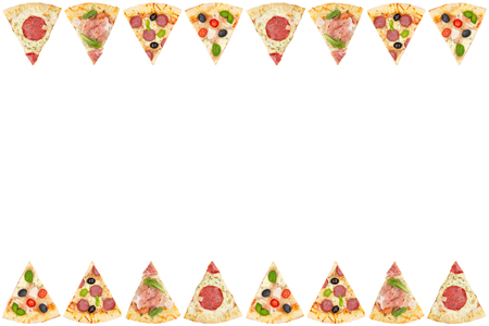 Pizza pizzas slice slices frame border copyspace copy space from above isolated on a white background
