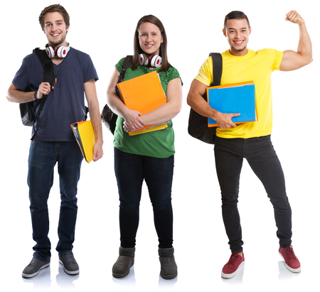 Students young success successful strong power people isolated on a white background
