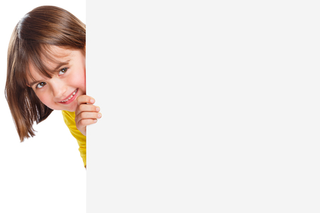 Child kid smiling young girl copyspace marketing ad advert empty blank sign isolated on a white background