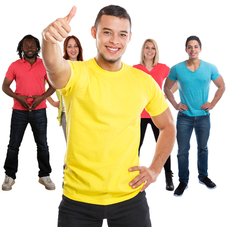 Group of friends success thumbs up successful square young people isolated on a white background