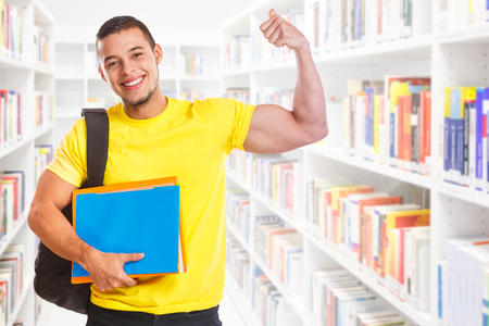 Student young man success successful strong power library education people learning