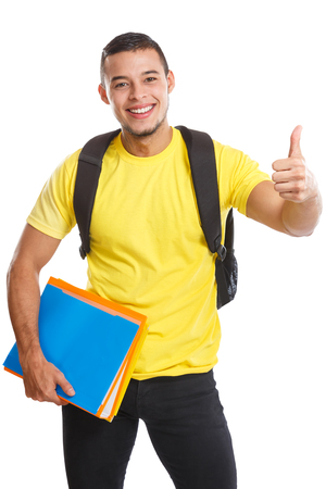 Student young man success successful thumbs up smiling people isolated on a white background