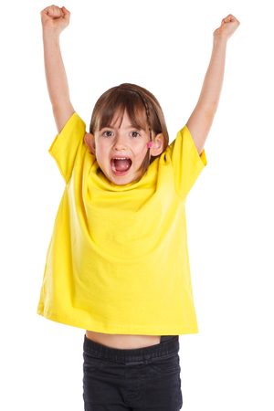Child kid girl happy happiness success successful good fun jumping young isolated on a white background