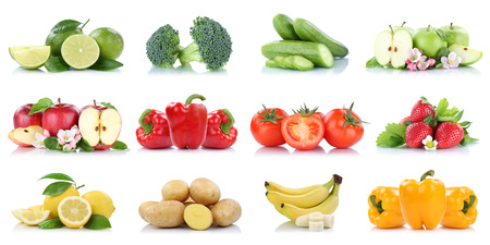Fruits and vegetables collection isolated apple tomatoes strawberries banana colors fresh fruit on a white background