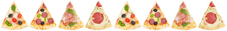 Pizza pizzas slice slices in a row collection collage from above isolated on a white background Stockfoto